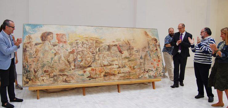 Recuperan un mural del antiguo Hotel Parque para la exposición sobre Prego de Oliver