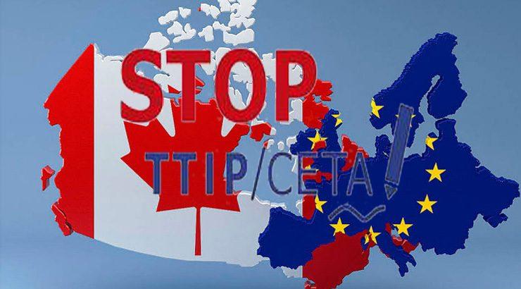 Mobilización en contra do CETA