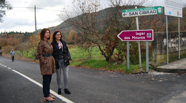 Rematada a primeira fase de acondicionamento da estrada que comunica Oímbra con San Cibrao