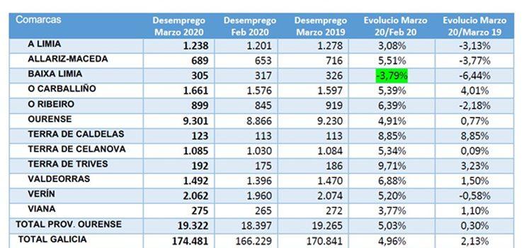 Baixa Limia, la comarca en la que más desciende el desempleo durante la crisis de Covid-19