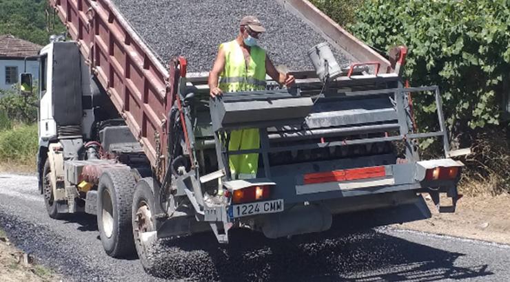 Obras na estrada de Bande